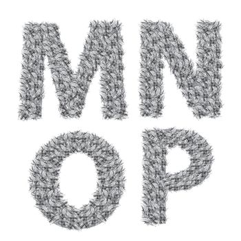 illustration with gray letters on a white background