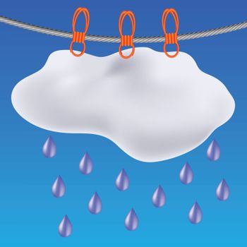 colorful illustration with gray clouds on a blue sky background