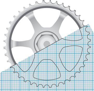Drawing gears for industrial machinery. Vector illustration.
