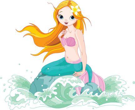 Illustration of Beautiful mermaid girl sitting on the stone