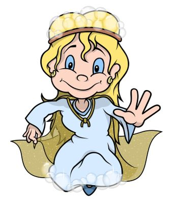 Fairy With Bubbles - Colored Cartoon Illustration, Vector