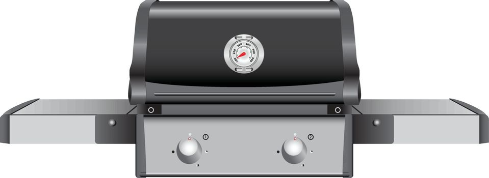Table grill with a temperature indicator. Vector illustration.