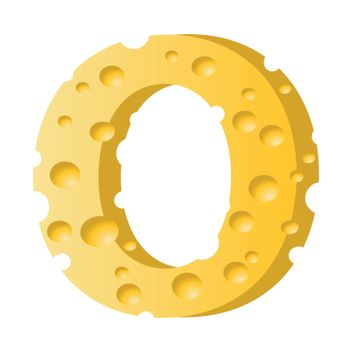 colorful illustration with cheese letter O  on a white background
