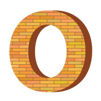 colorful illustration with brick letter O  on a white background