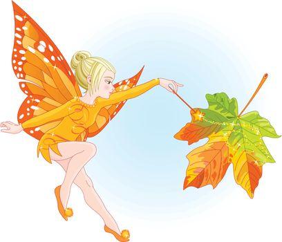 Illustration of flying autumn fairy