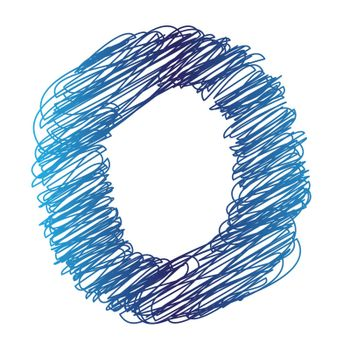 colorful illustration with sketched letter O on  a white background