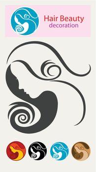 Beauty hair icon, art vector logo design