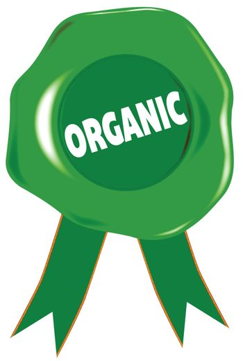 A green wax stamp with the legend ORGANIC