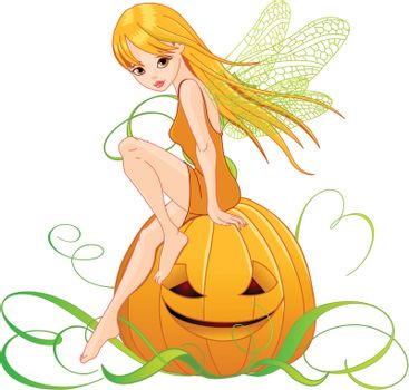 Illustration of cute fairy holding pumpkin