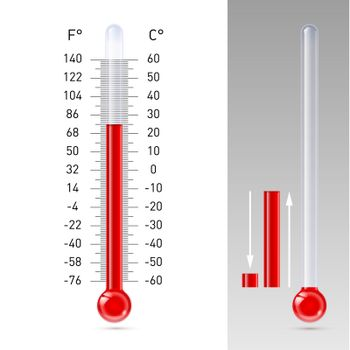 Illustration of thermometer with Fahrenheit and Celsius scale
