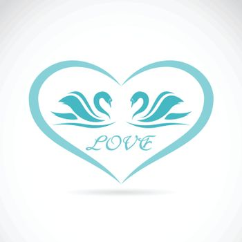 Vector image of two swans in a heart shape.