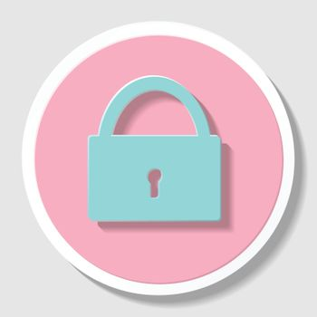 Sketch  padlock with keys in flat style, vector  background