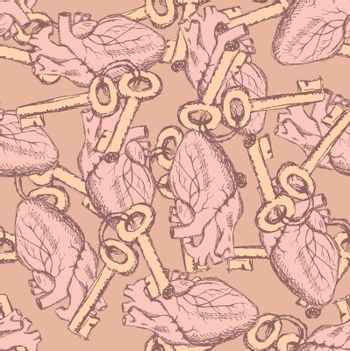 Cute vector keys and hearts seamless pattern in vintage style
