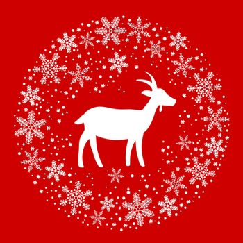 Winter Christmas Round Wreath with Snowflakes and Goat. Red and White Color Vector Illustration