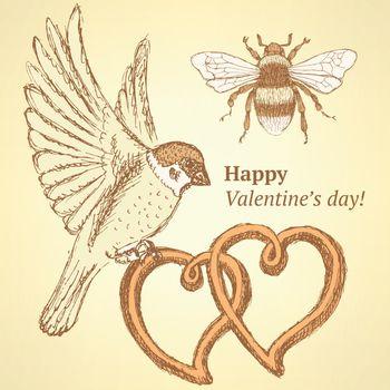 Sketch cute Valentine card in vintage style