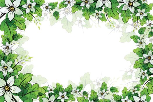 Flower frame with leaves for your design