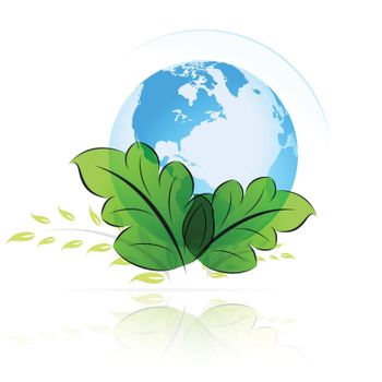 Green planet icon with leaves for your design