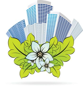 Green ECO city icon with flowers for your design