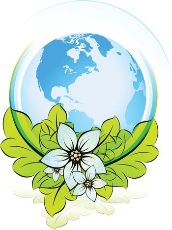 Green ECO icon with Earth for your design