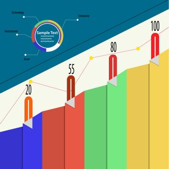 Economic infographics with bookmarks and growth funds