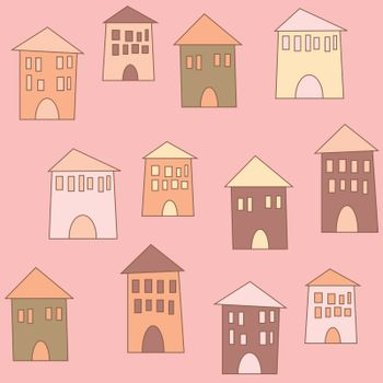 Flat cute houses in vintage style, seamless pattern