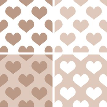Seamless vector pastel hearts background set. Full of love pattern for valentines desktop wallpaper or website design in white, brown and beige color