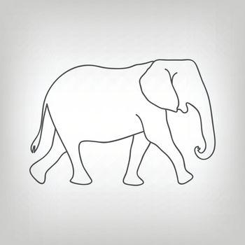 Grey silhouette of walking elephant on light grey background