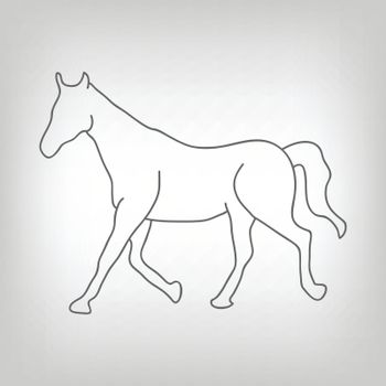 Grey silhouette of running horse on light grey background