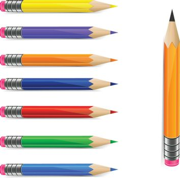 Graphite pencil and set of rainbow colors pencils on white background