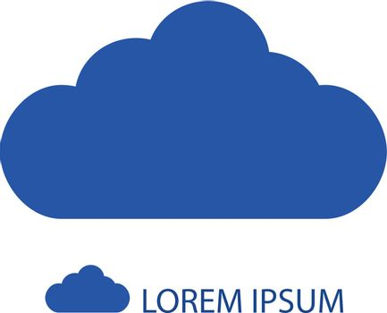 Blue cloud  as logo on white background with copyspace