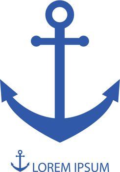 Anchor as logo in blue colors. Sea theme