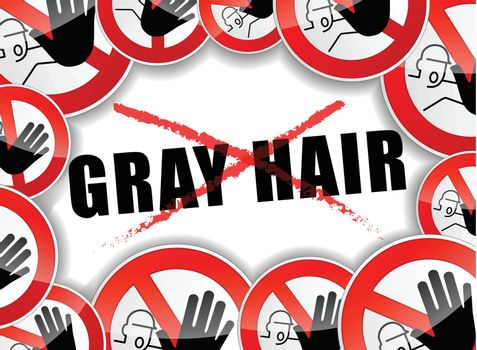 illustration of abstract design concept for no gray hair