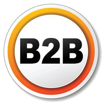 illustration of white and orange icon for b2b