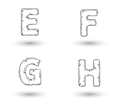 sketch jagged alphabet letters with shadow on white background, E, F, G, H