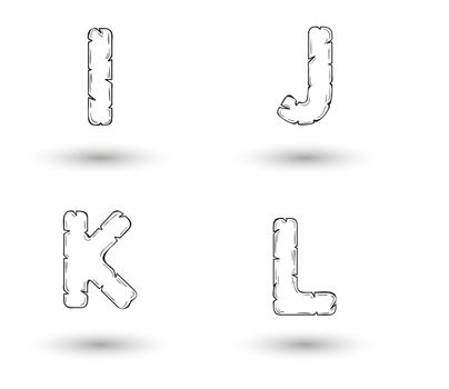 sketch jagged alphabet letters with shadow on white background, I, J, K, L