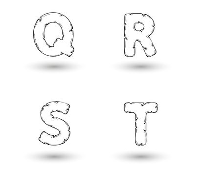 sketch jagged alphabet letters with shadow on white background, Q, R, S, T