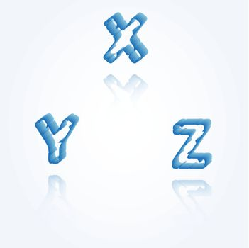 sketch jagged alphabet letters with 3d effect and shadow on white background, X, Y, Z