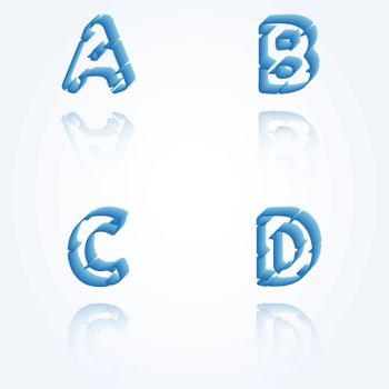 sketch jagged alphabet letters with 3d effect and shadow on white background, A, B, C, D