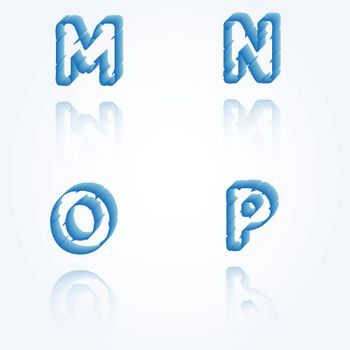 sketch jagged alphabet letters with 3d effect and shadow on white background, M, N, O, P