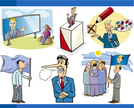 Illustration Set of Humorous Cartoon Concepts or and Metaphors of Politics and Democracy