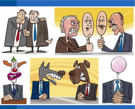 Illustration Set of Humorous Cartoon Concepts or and Metaphors of Politics and Politicians