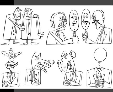 Black and White Illustration Set of Humorous Cartoon Concepts or and Metaphors of Politics and Politicians