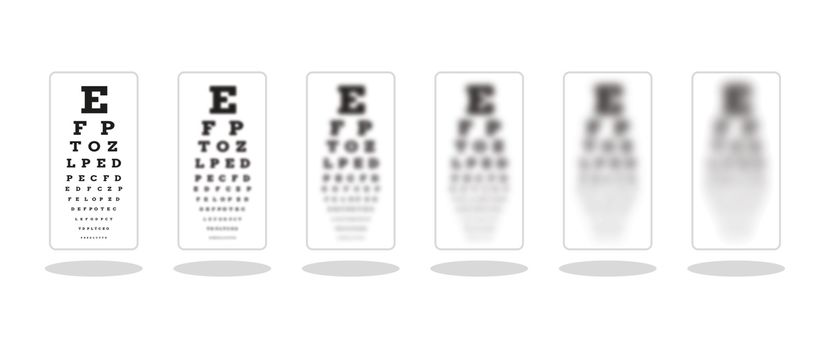 sharp and five unsharp snellen chart as a symbol of different sight damage, vector