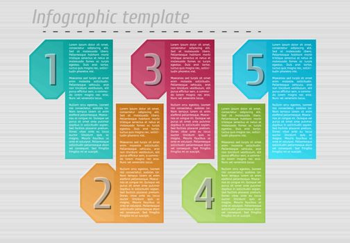 infographic template with sample text on gray lined background, vector