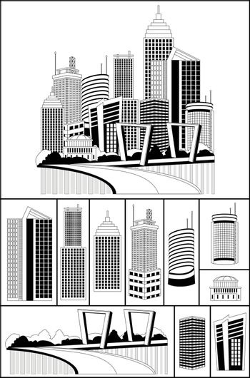 Modern metropolis city skyscrapers skyline, illustration with an individual buildings