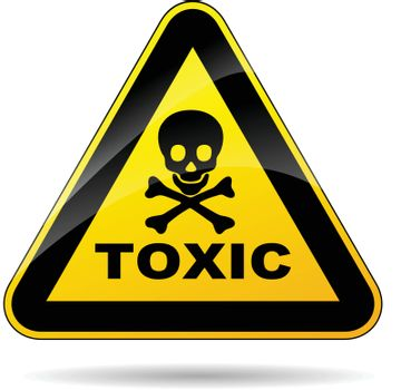 illustration of yellow triangle sign for toxicity