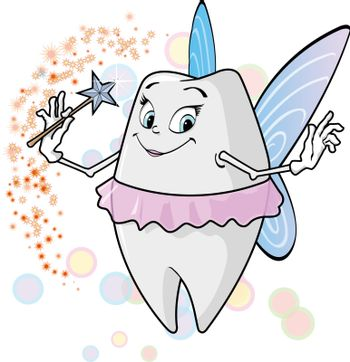 A cute tooth fairy with her magic wand.