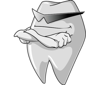 A macho tooth guard is standing folded his hands.