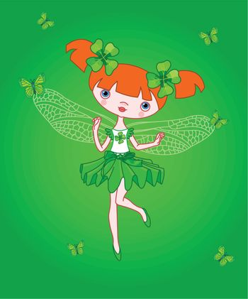 Little clover fairy flying with butterflies