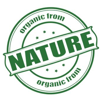Stamp with text organic from nature inside, vector illustration